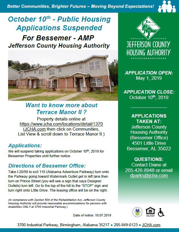 10-10 Public Housing Application Suspended Bessemer flyer