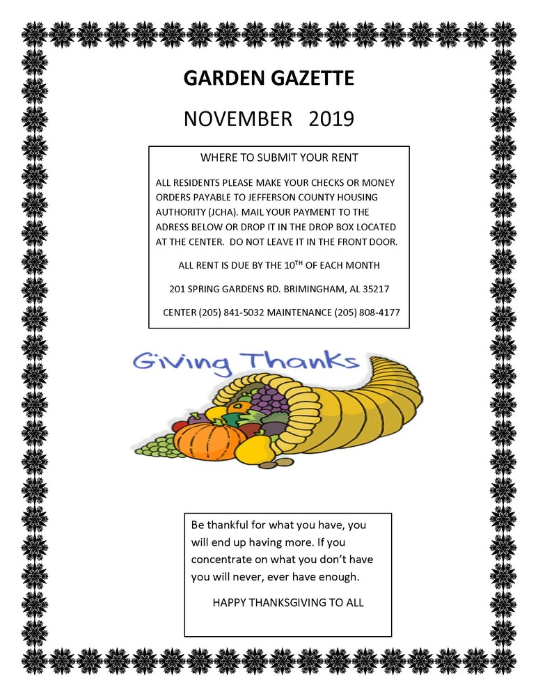 GAZETTE NOVEMBER 2019 newsletter page 1