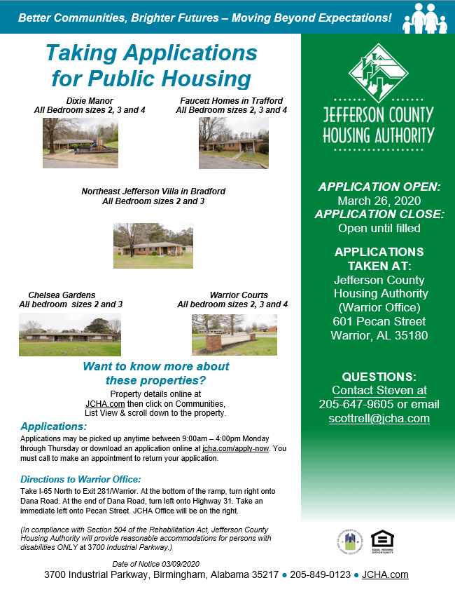 Taking Applications for Public Housing 03-26-2020