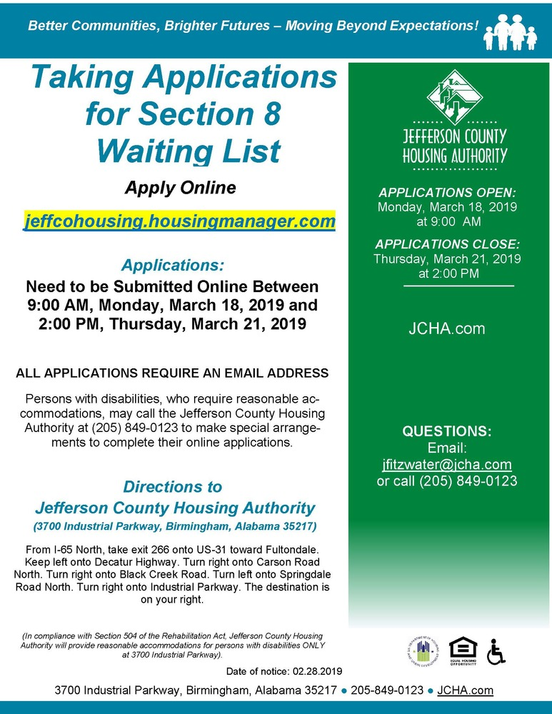 Taking Applications for Section 8 Waiting List (03/08/2019