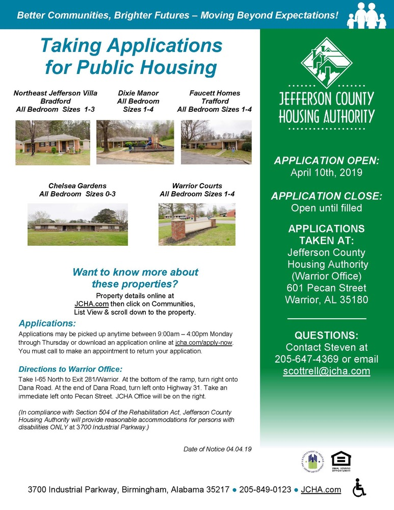 Taking Applications for Warrior Public Housing, Opens 4/10/19 (04/08