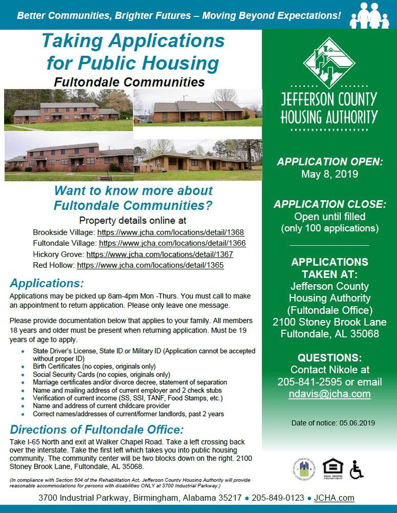 Fultondale Housing 5-8-19 taking applications announcement